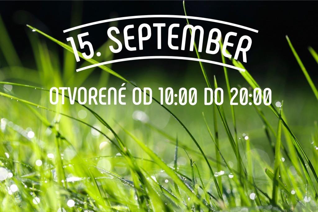 V stredu 15.9. bude otvorené od 10:00